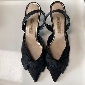 Zara Sling Back Kitten Heel with Bow, fits 8.5